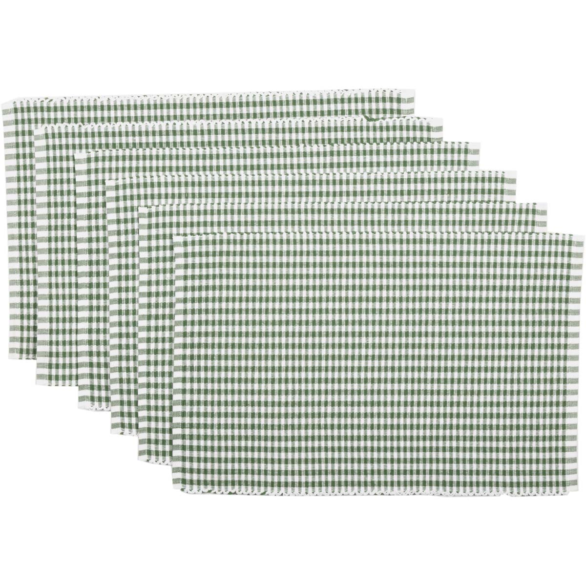 Tara Green Ribbed Placemat Set of 6 12x18