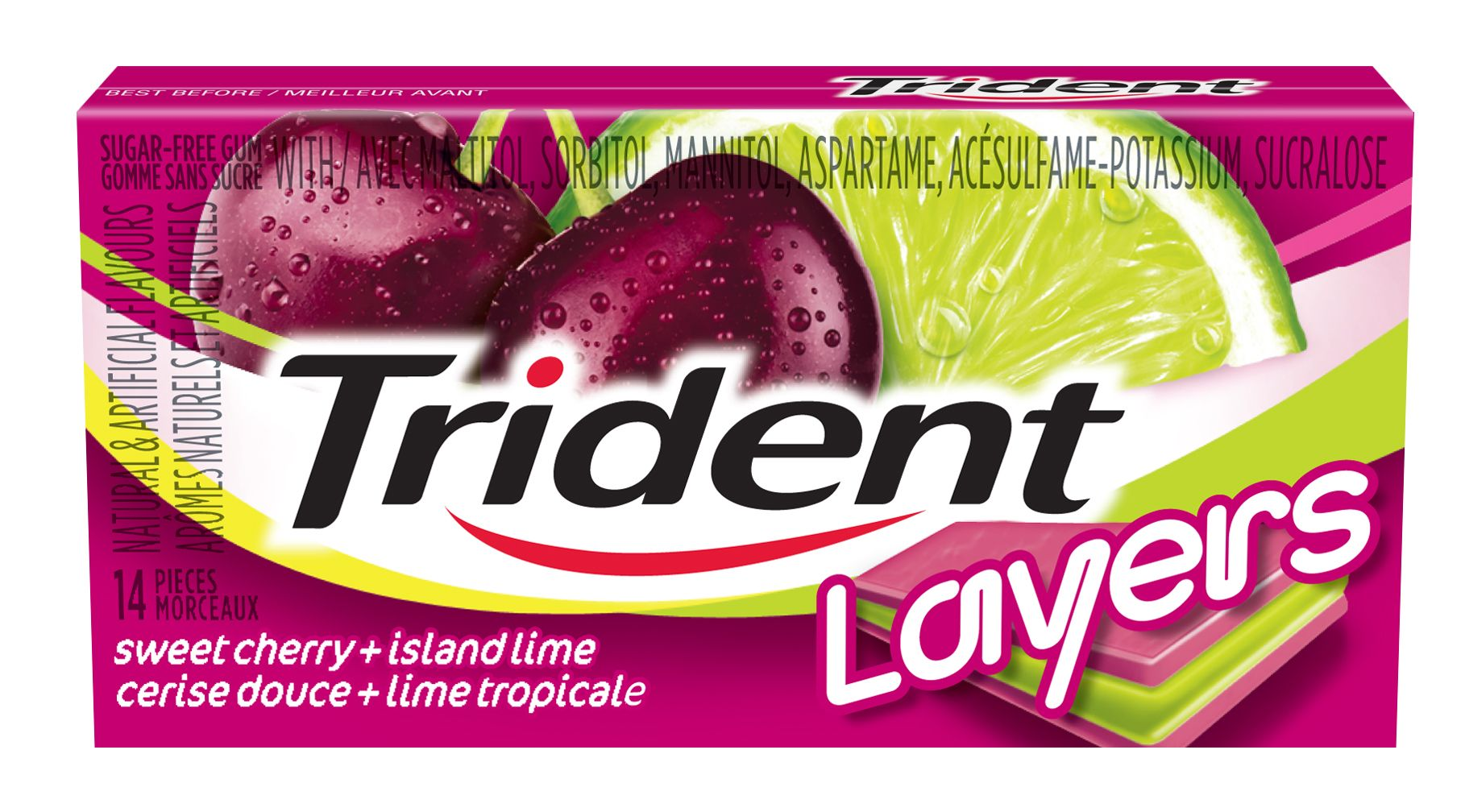 Trident Layers Sweet Cherry/Island Lime Gum 14 Count