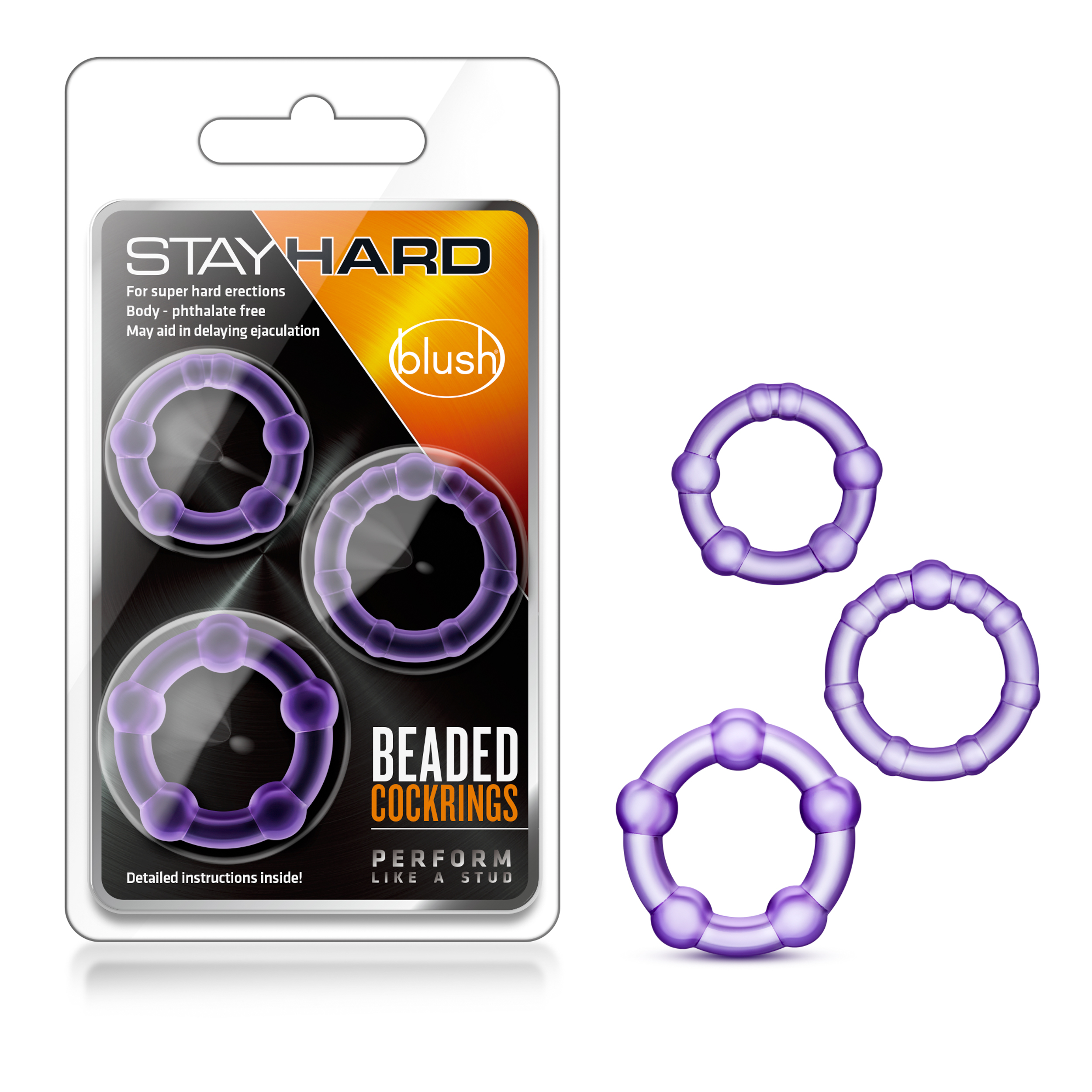 Stay Hard - Beaded Cock Rings - Purple