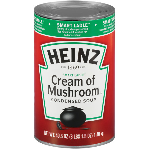 HEINZ Reduced Sodium Cream of Mushroom Soup, 49.5 oz. Can, (Pack of 12)