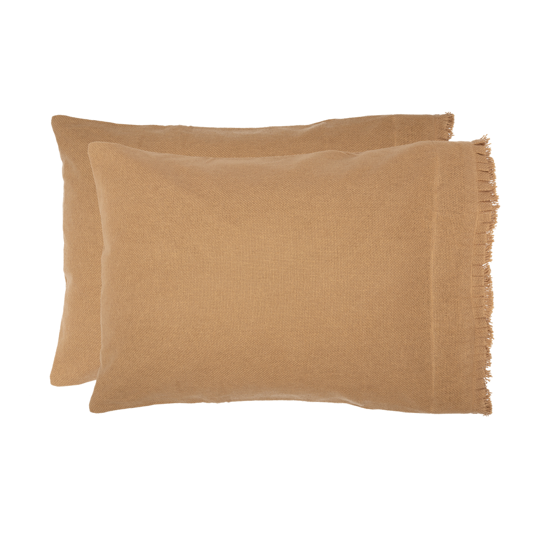 Burlap Natural Standard Pillow Case w/ Fringed Ruffle Set of 2 21x30