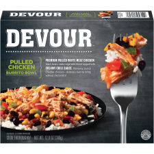 DEVOUR Pulled Chicken Burrito Bowl Frozen Meal, 12 oz Box