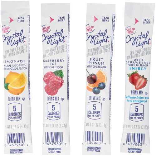 CRYSTAL LIGHT Sugar Free Variety Pack On-the-Go Mix, 30-0.15 oz Packets per Box (Pack of 4 Boxes)