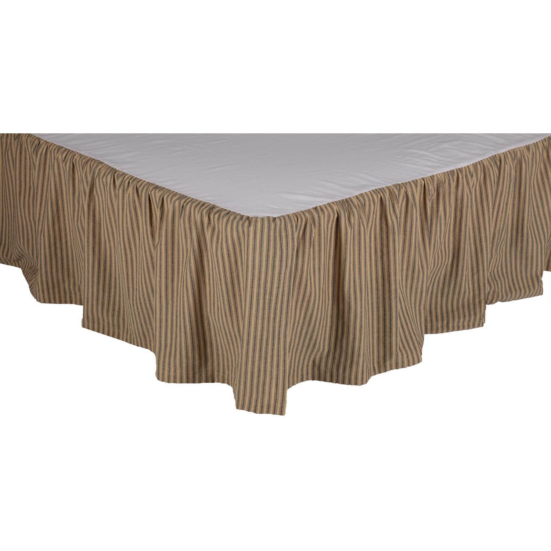 Farmhouse Star Ticking Stripe King Bed Skirt 78x80x16
