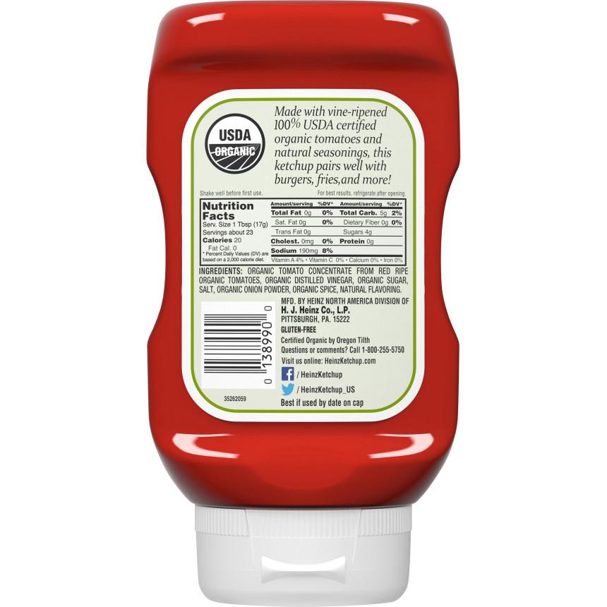 Heinz Organic Tomato Ketchup 14 oz Bottle