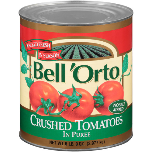 BELL ORTO No Salt Added Crushed Tomato in Puree, 105 oz. Can (Pack of 6)