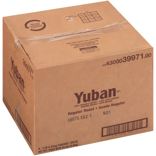 YUBAN Regular Roast & Ground Coffee, 4 lb. Bag (Pack of 6)