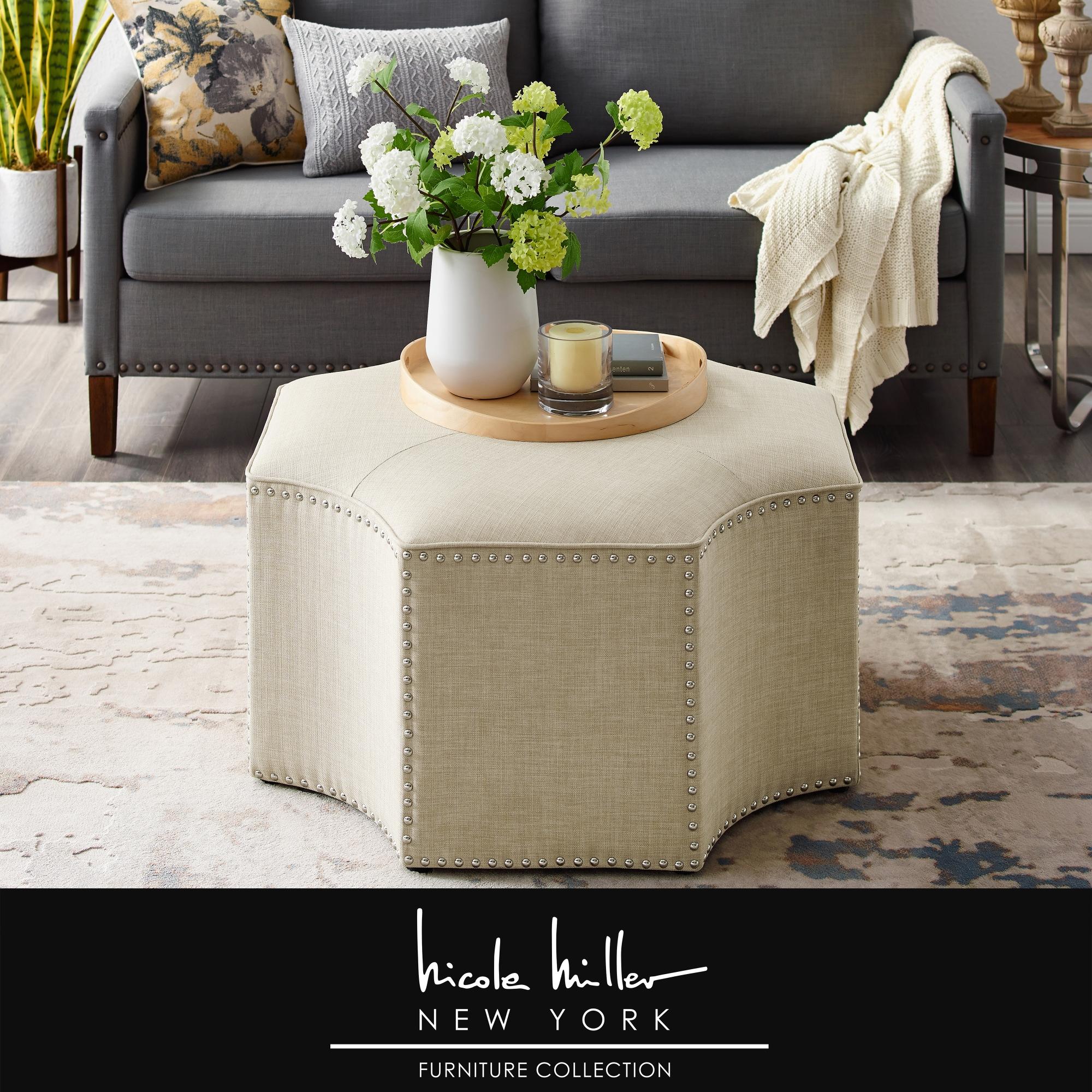 Nicole Miller Cream White Linen/Chrome Linen Cocktail Ottoman Upholstered Single Tuft