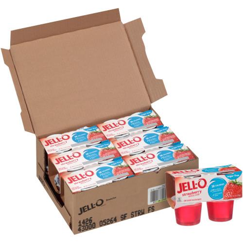 JELL-O Strawberry Sugar Free Gelatin, 3.1 oz. Cups (4/6 Count)