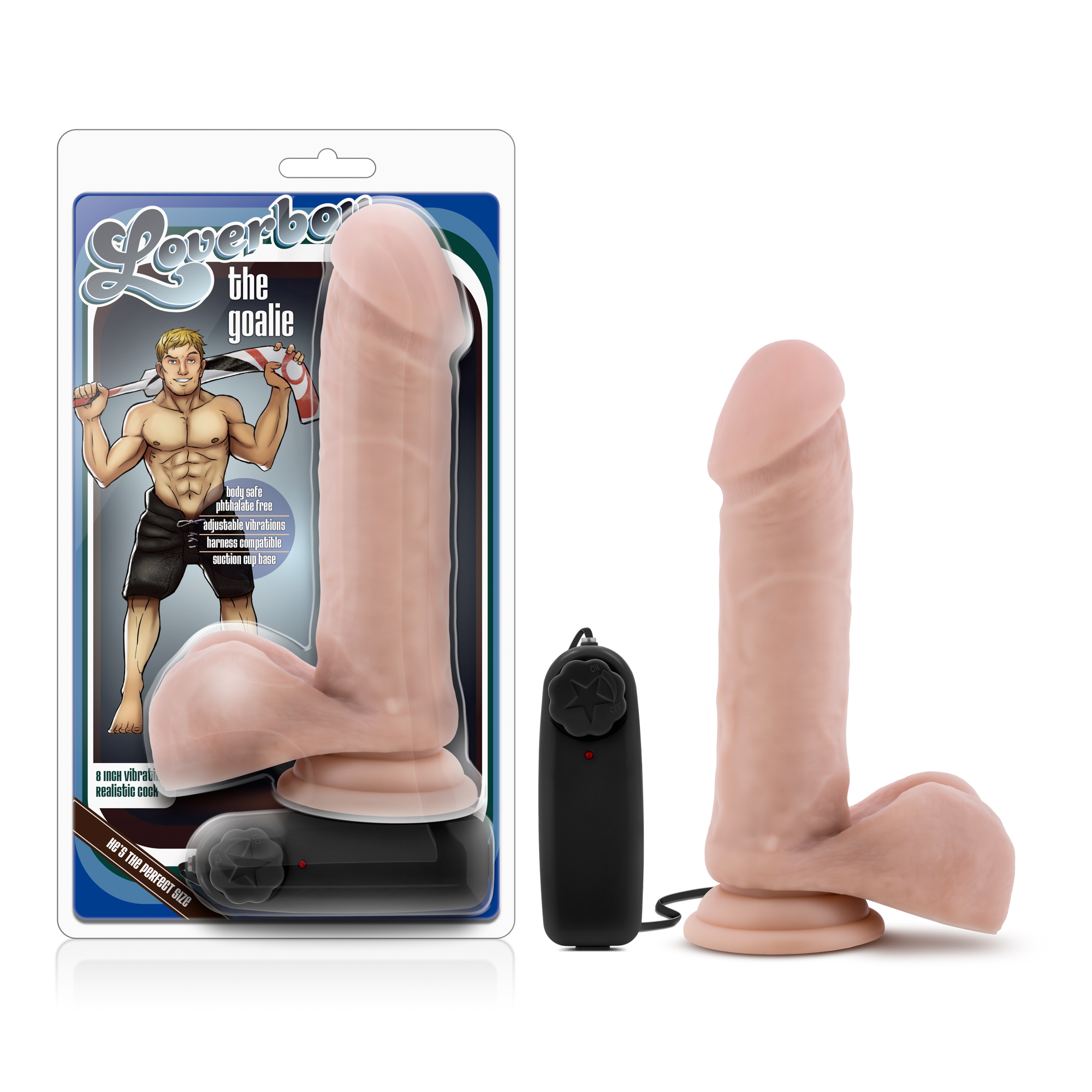 Loverboy - The Goalie - Vibrating 8 Inch Realistic Dildo - Vanilla