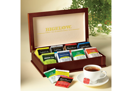 Engraved Wooden Tea Chest with Flavored and Herb Tea - total of 64 teabags