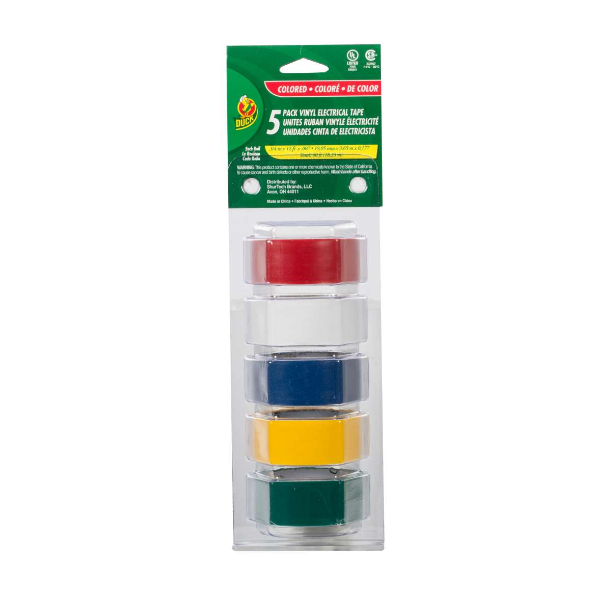 Duck® Brand Professional Color Coding Electrical Tape - Multi-Color, 5 pk, .75 in. x 12 ft. x 7 mil. Image