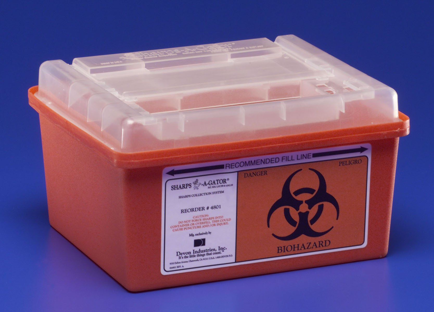 Sharps Container, Sharps-A-Gator 1-Piece 1 Gallon Red Horizontal Entry Lid, 31143699 - Case of 32