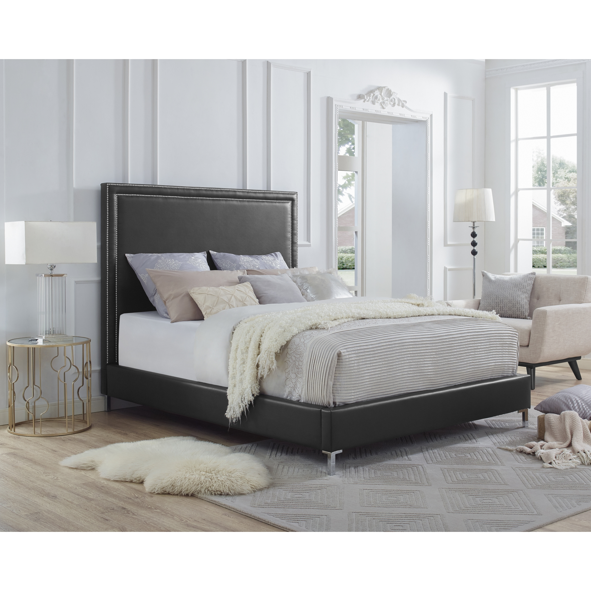 Inspired Home Black PU Leather Bed Nailhead Trim