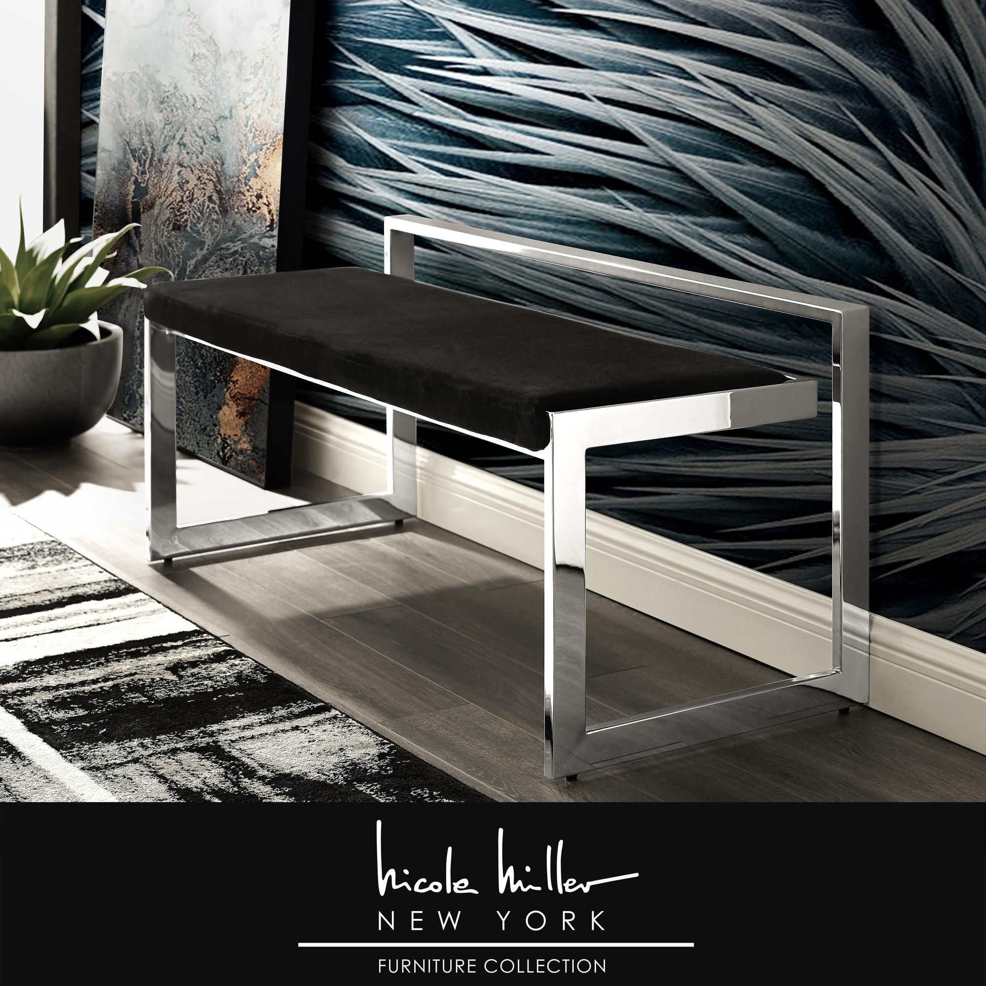 Nicole Miller Black/Chrome Velvet Bench Upholstered Geometric Frame Design