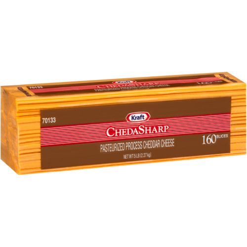 KRAFT ChedaSharp Sliced Cheddar Cheese (160 Slices), 5 lb. (Pack of 4)