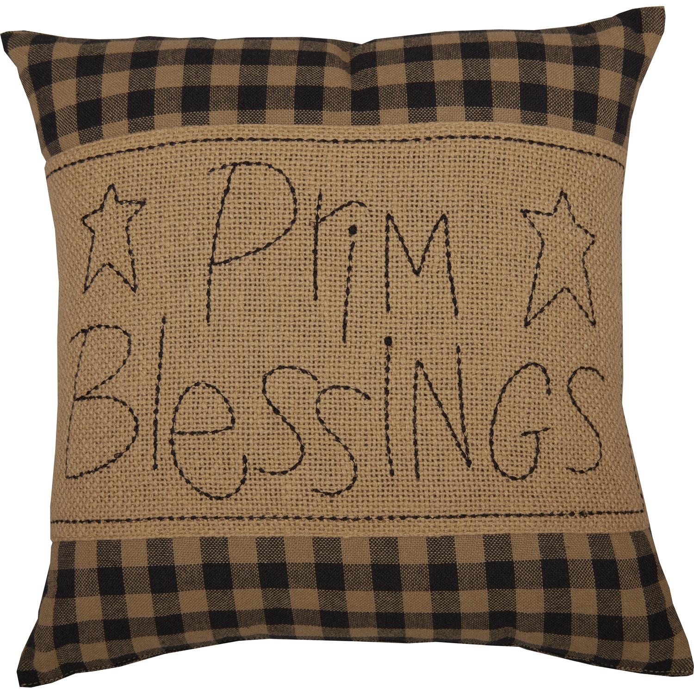 Black Check Prim Blessings Pillow 12x12