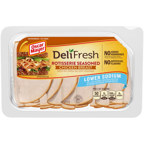 OSCAR MAYER Deli Fresh Lower Sodium Rotisserie Seasoned Chicken Breast 8oz Tray