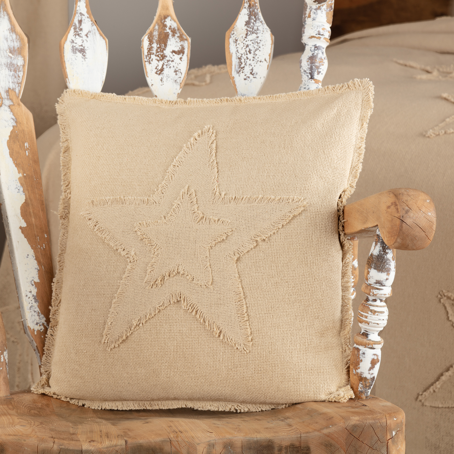 Burlap Vintage Star Pillow 18x18