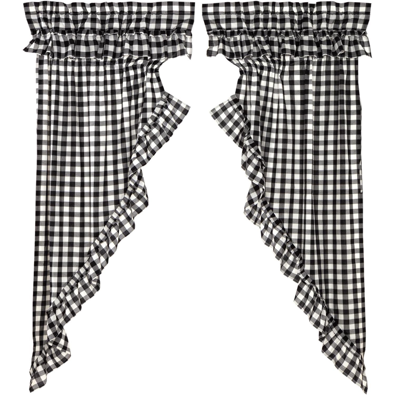 Annie Buffalo Black Check Ruffled Prairie Short Panel Set of 2 63x36x18