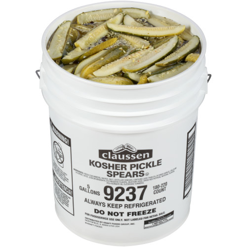 CLAUSSEN Dill Pickle Spears, 5 gal. Pail, 180-220 Count