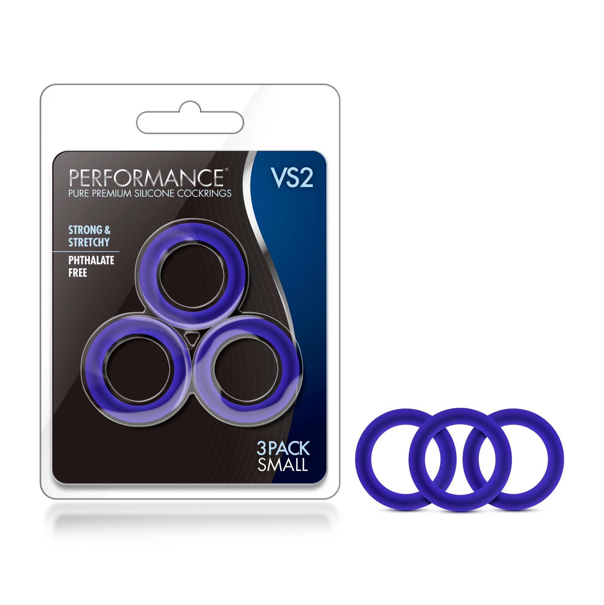 Performance - VS2 Pure Premium Silicone Cock Rings - Small - Indigo