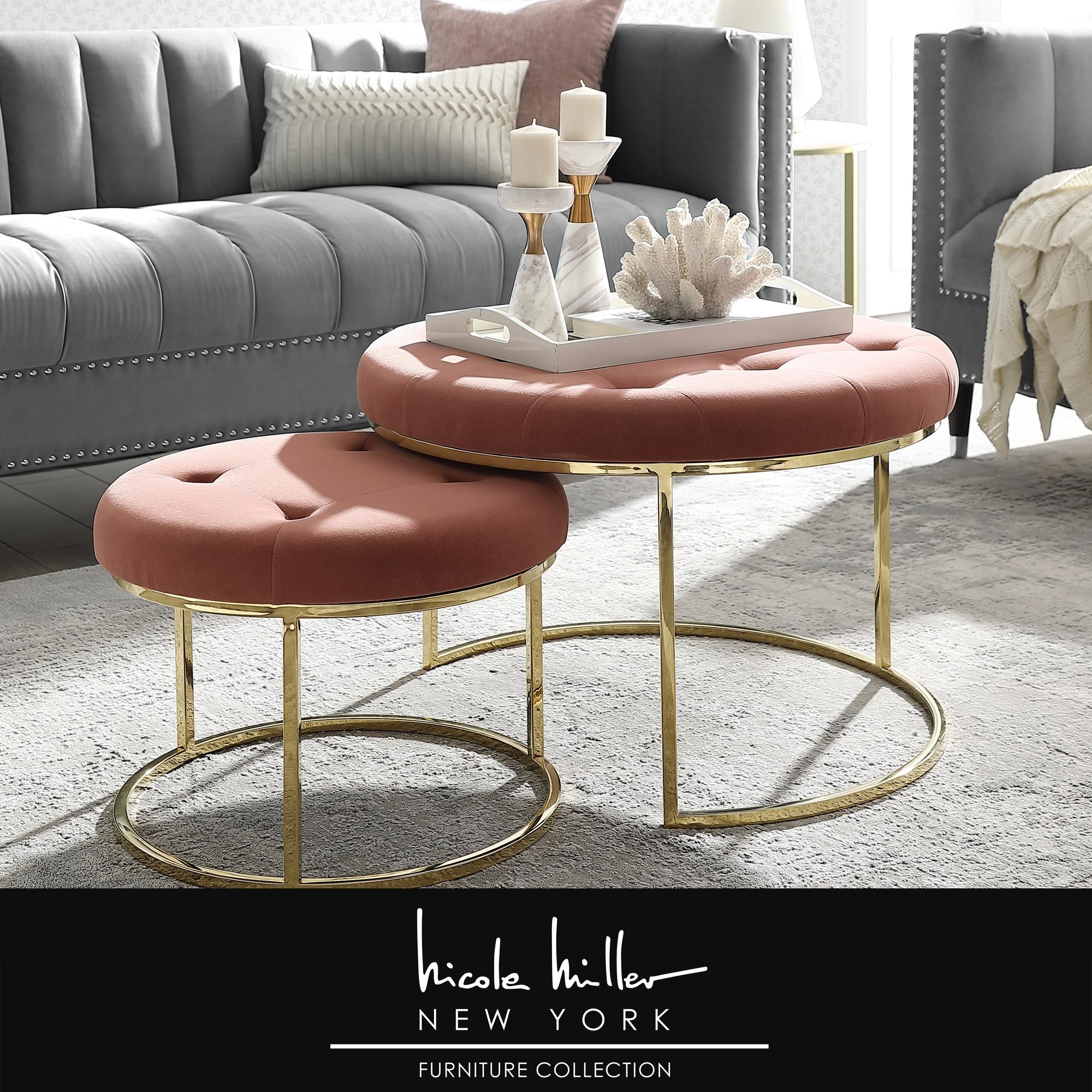 Nicole Miller Blush/Gold Velvet Ottoman Nesting Stainless Steel Polished Base