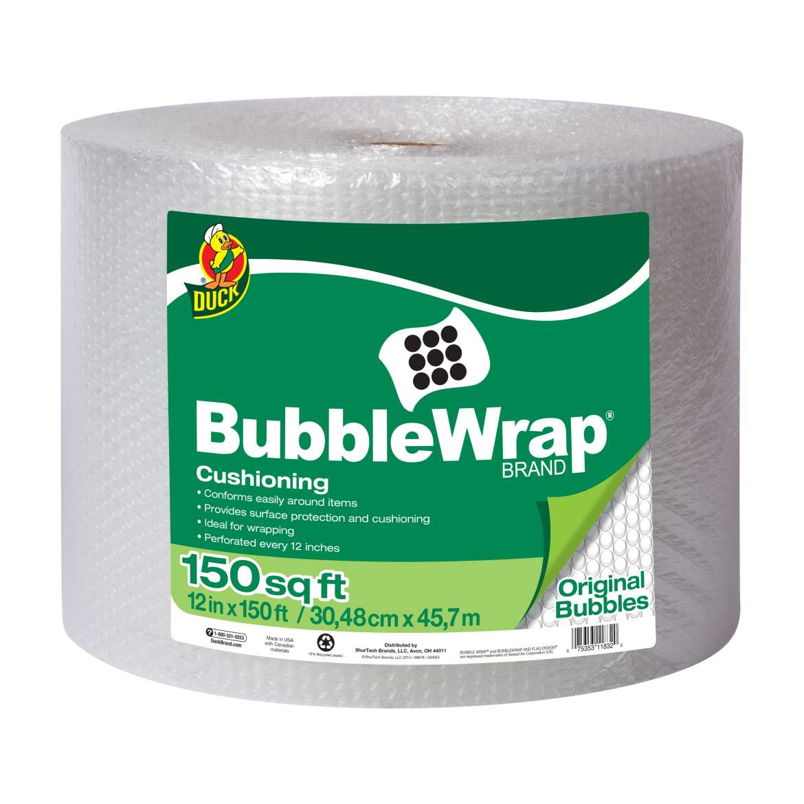 Duck® Brand Original Bubble Wrap® Cushioning - Clear, 12 in. x 150 ft. Image