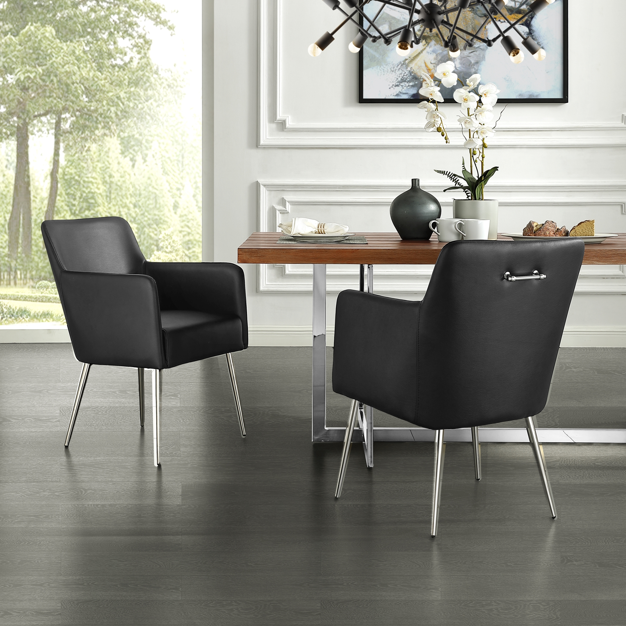 Inspired Home Black PU Leather Dining Chair Chrome Silver Finish Handle and Legs Arm