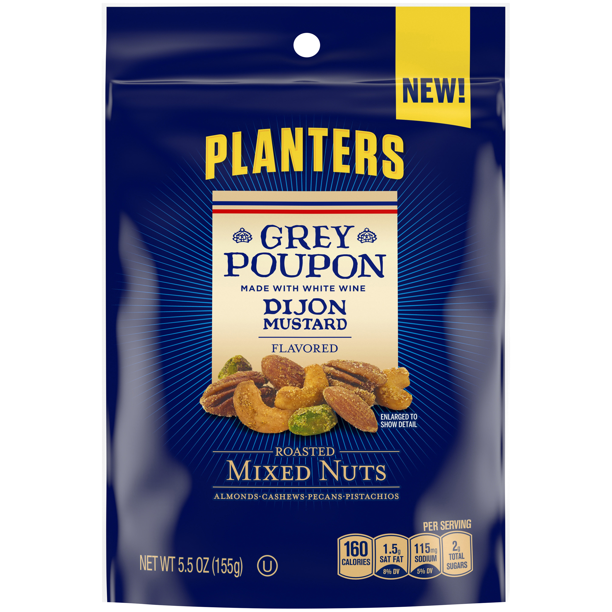 Planters Grey Poupon Sauce Flavored Roasted Mixed Nuts, 5 oz Bag