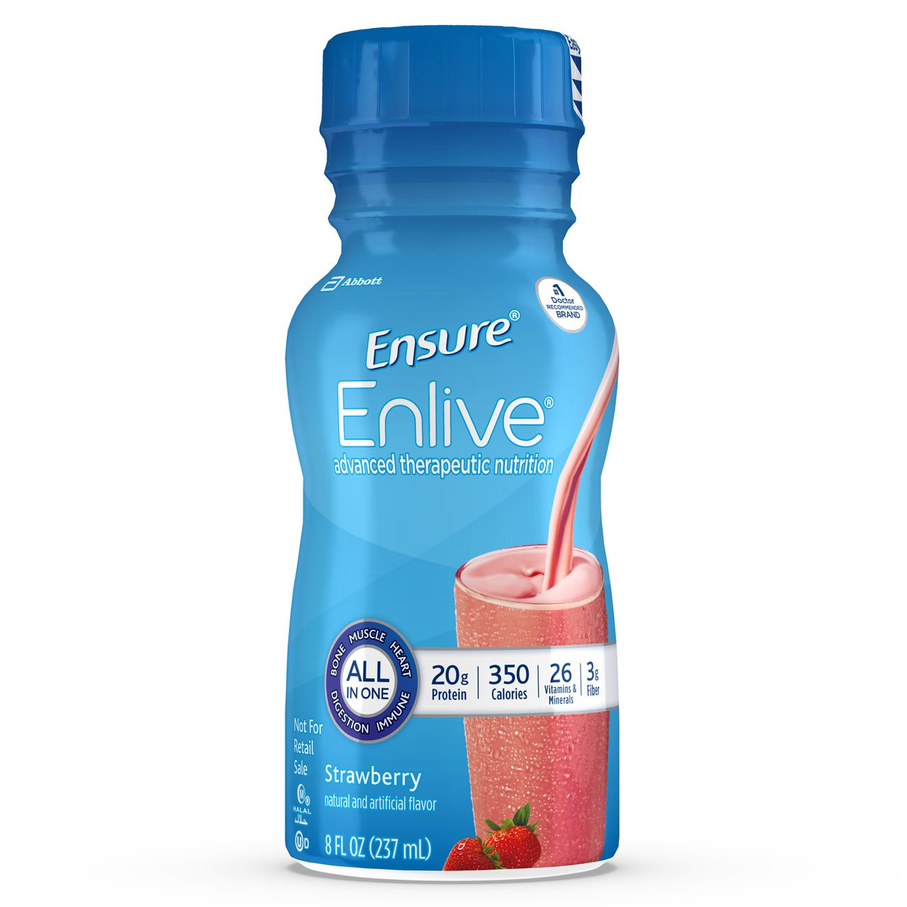 Ensure Strawberry Flavor 8 oz. Bottle Ready to Use, 64281 - Pack of 6