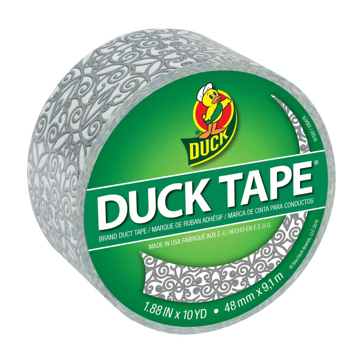 Printed Duck Tape® Brand Duct Tape - Silver Scroll, 1.88 in. x 10 yd. Image