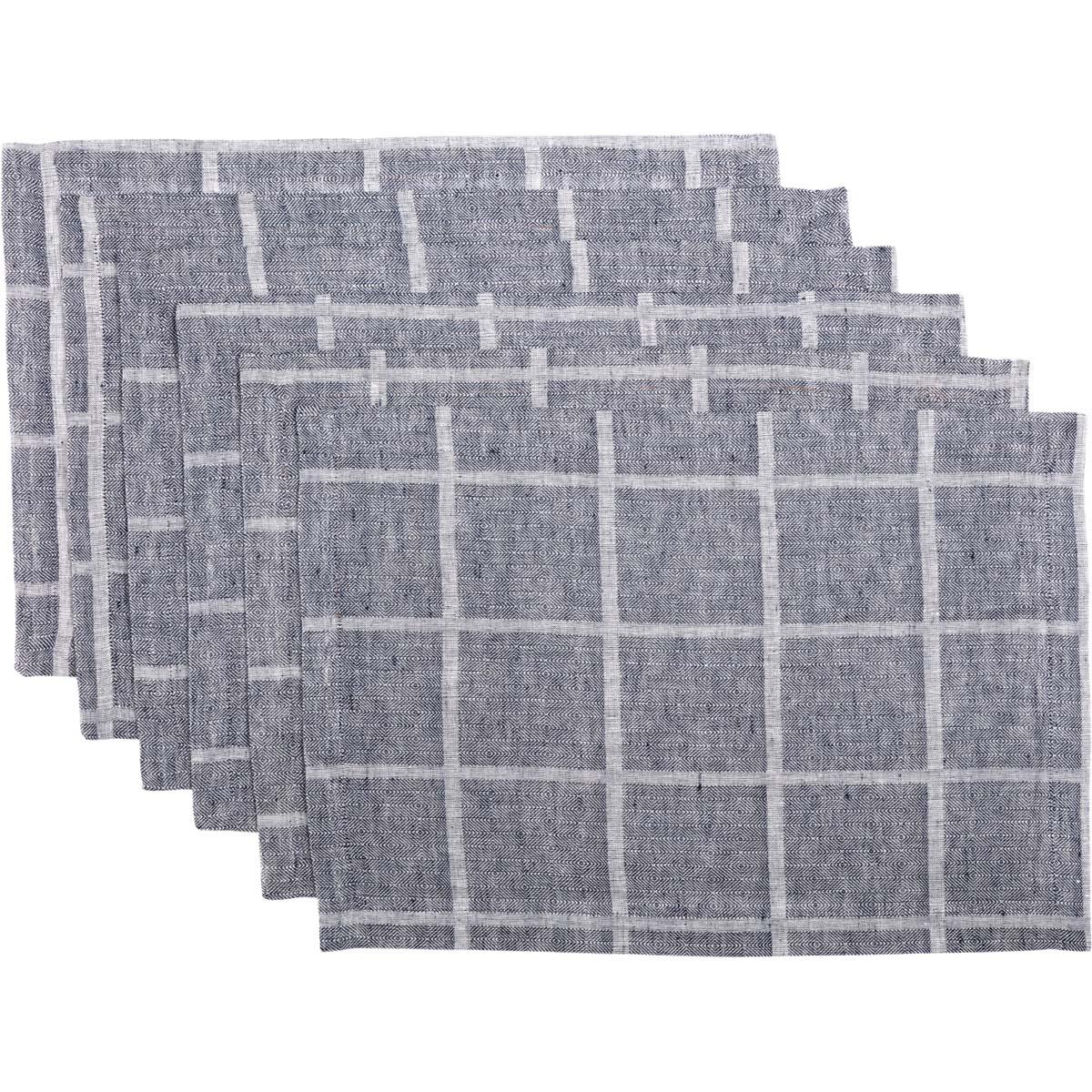 Julie Navy Plaid Placemat Set of 6 12x18