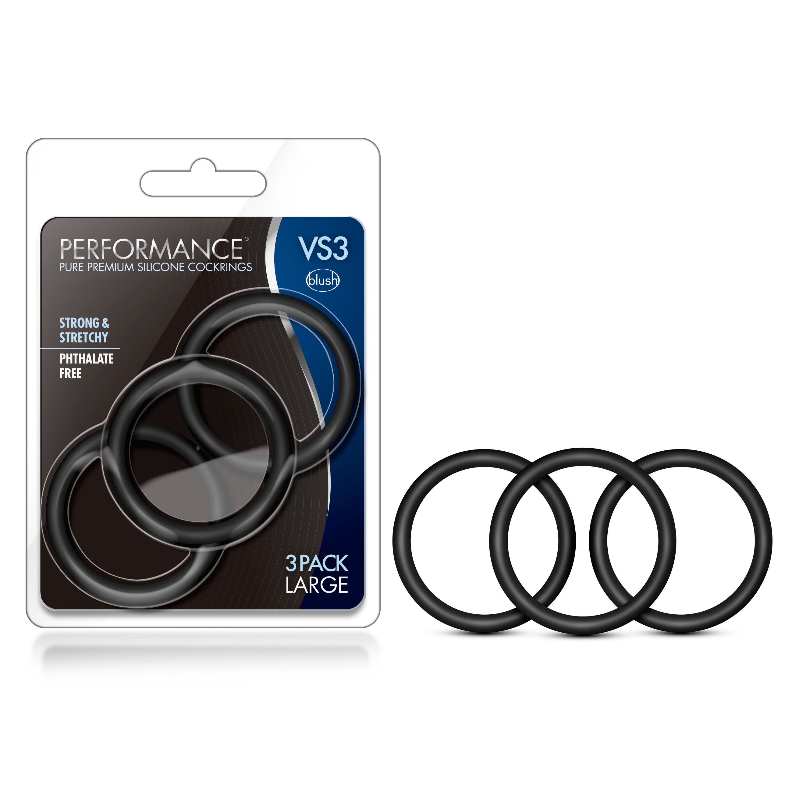 Performance - VS3 Pure Premium Silicone Cock Rings - Large - Black