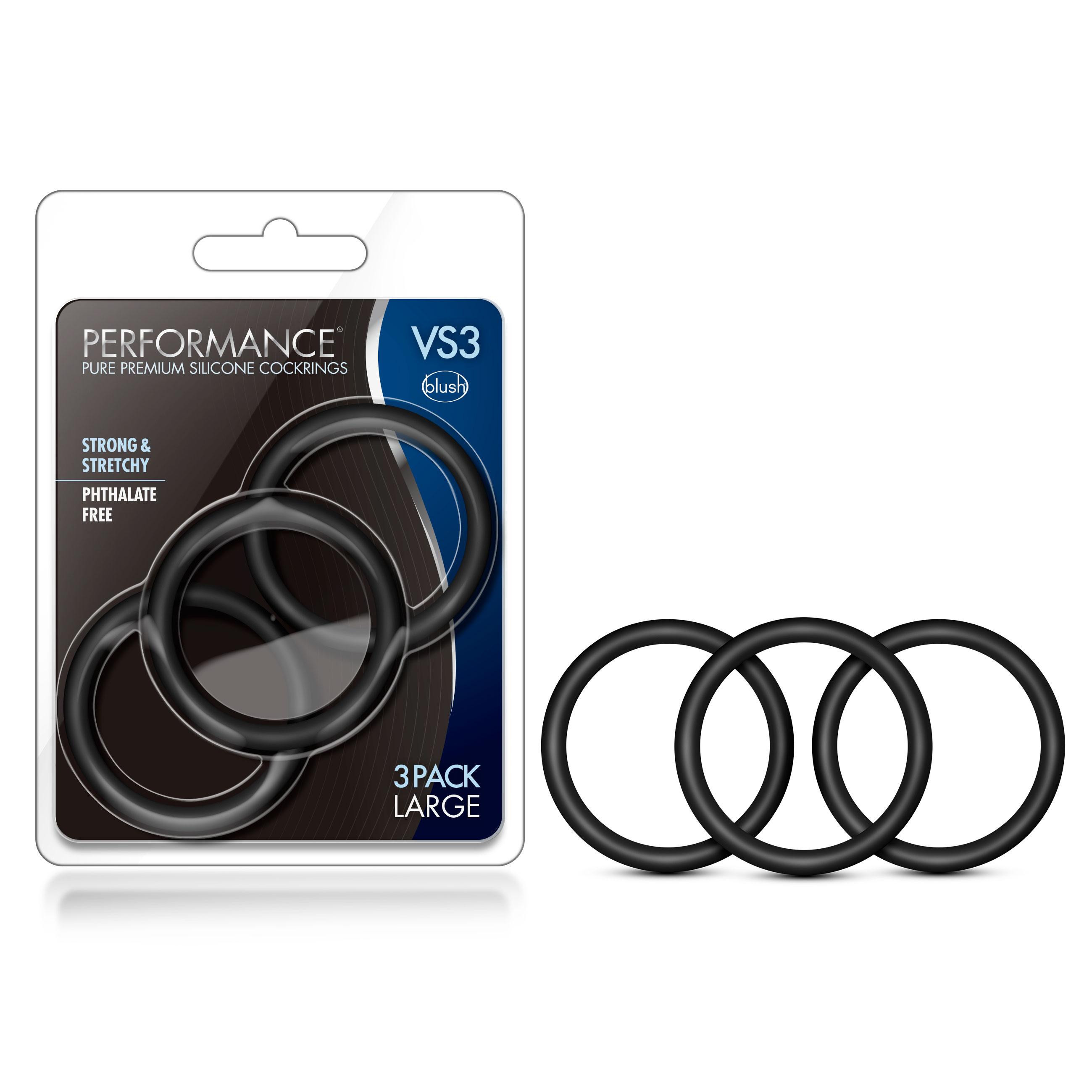 Performance - VS3 Pure Premium Silicone Cock Rings - Large - Black
