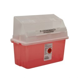 Sharps Container GatorGuard 1-Piece 14 H X 13 W X 6 D Inch 5 Quart Translucent Red Horizontal Entry Lid, 31353603 - EACH