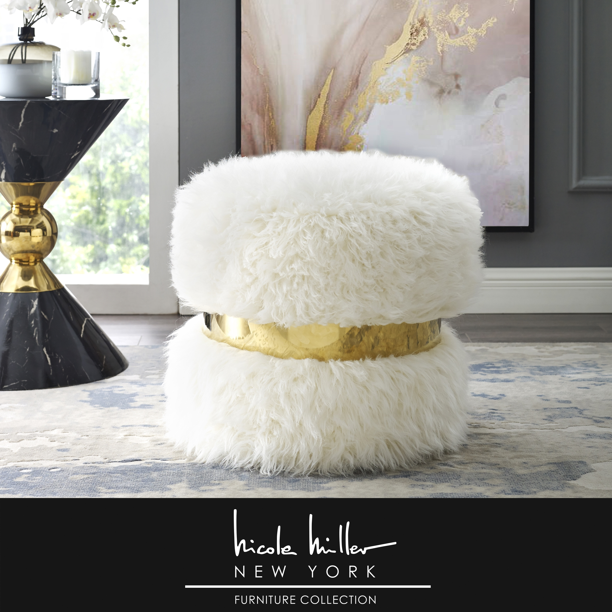 Nicole Miller Cream White/Gold Faux Fur Ottoman Upholstered Gold Polished Band