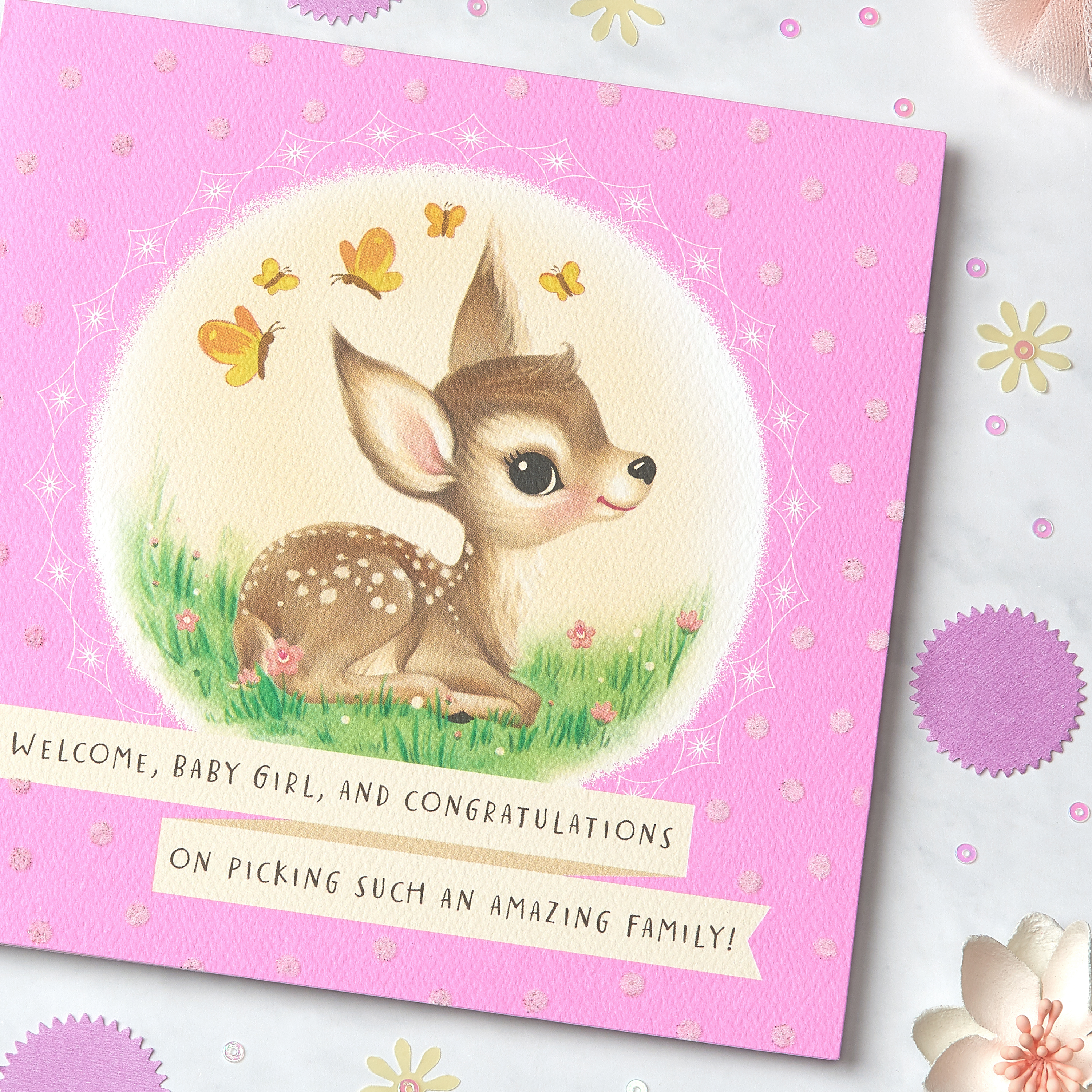 Deer New Baby Girl Congratulations Greeting Card image
