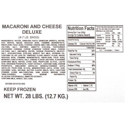 QUALITY CHEF Deluxe Macaroni & Cheese, 7 lb. Frozen Bag (Pack of 4)