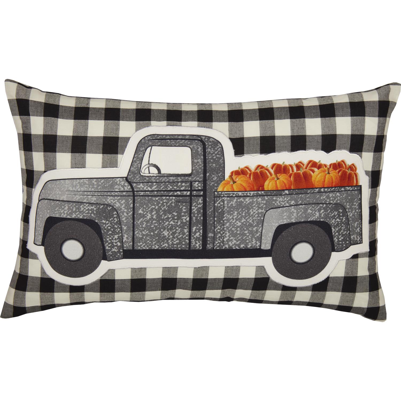 Annie Buffalo Black Check Pumpkin Truck Pillow 14x22