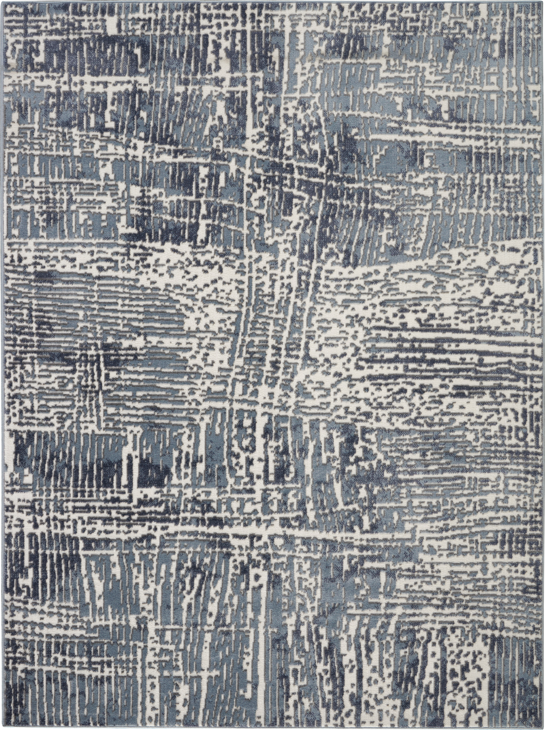 Nourison Urban Decor 5' X 7' Slate Blue And White Rustic Area Rug