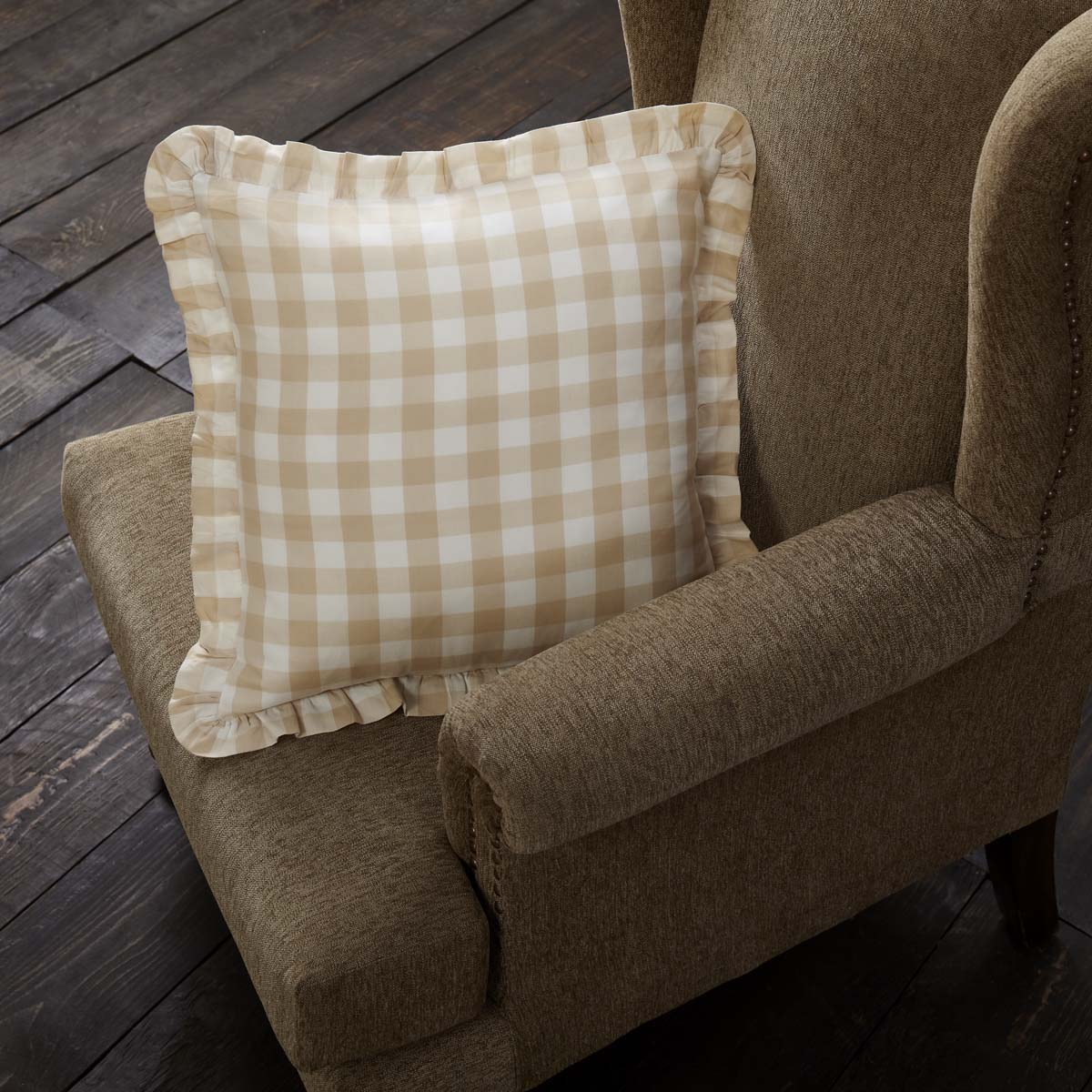Annie Buffalo Tan Check Ruffled Fabric Pillow 18x18