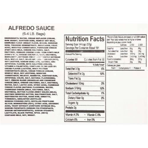 QUALITY CHEF Alfredo Sauce, 4 lb. Frozen Bag (Pack of 6)