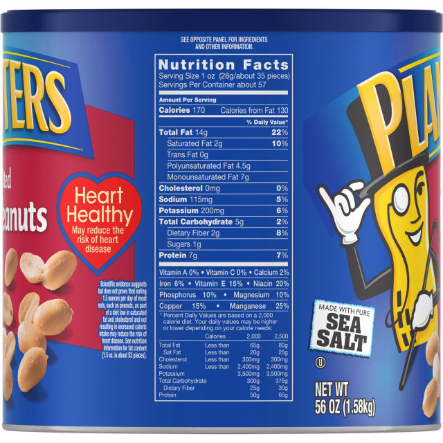 PLANTERS Salted Peanuts 56 oz Can