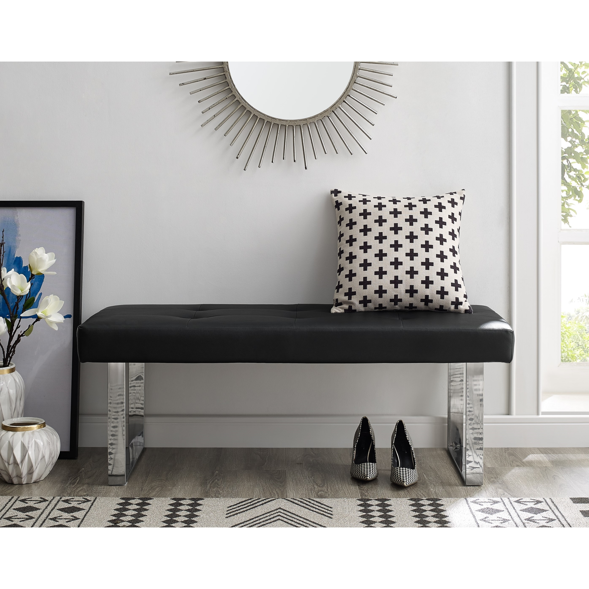 Inspired Home Black PU Leather Bench Button Tufted Chrome Square Leg