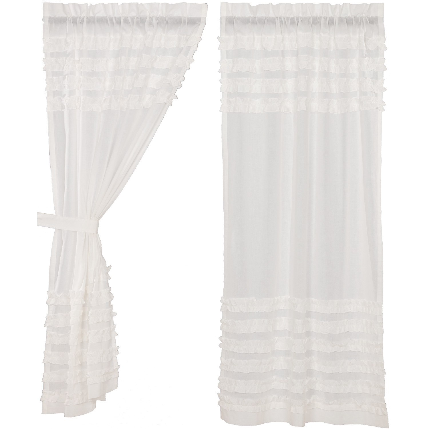 White Ruffled Sheer Petticoat Short Panel Set of 2 63x36