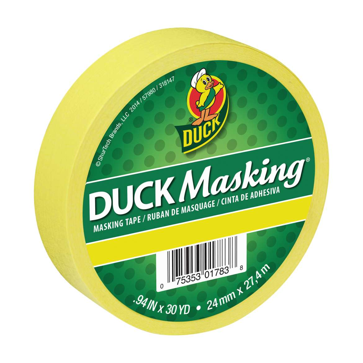 Duck Masking® Color Masking Tape - Yellow, .94 in. x 30 yd. Image