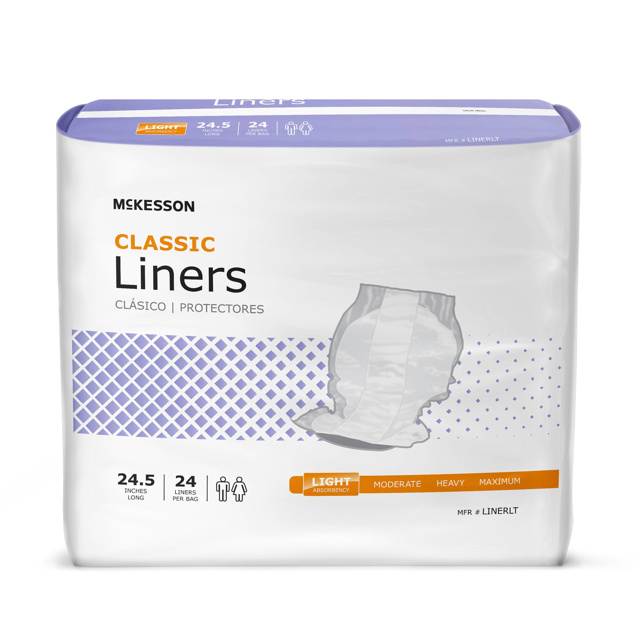 Incontinence Liner, McKesson Lite, 24-1/2 Inch Length Light Absorbency Polymer One Size Fits Most Unisex Disposable, LINERLT - Case of 96