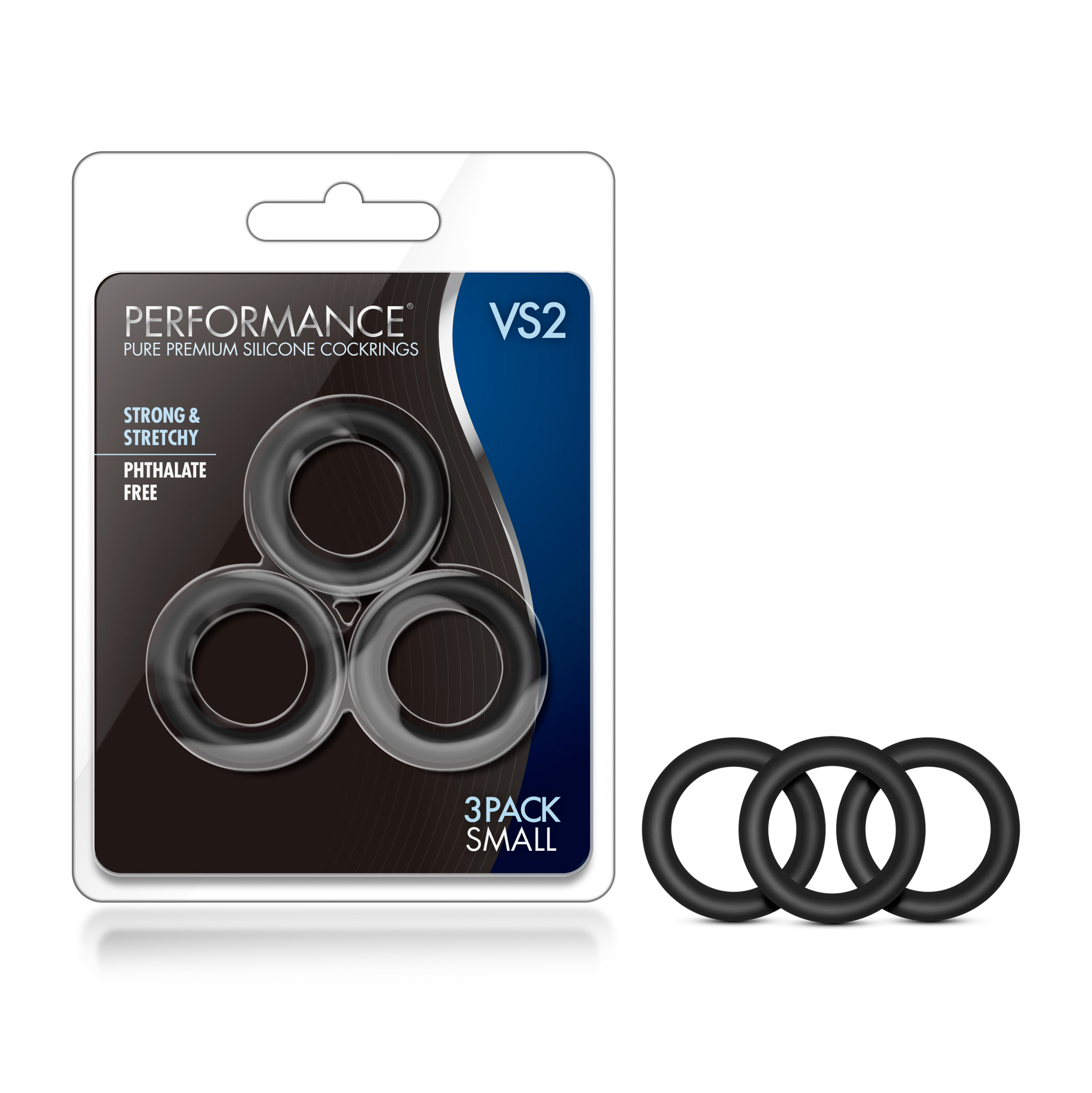 Performance - VS2 Pure Premium Silicone Cock Rings - Small - Black