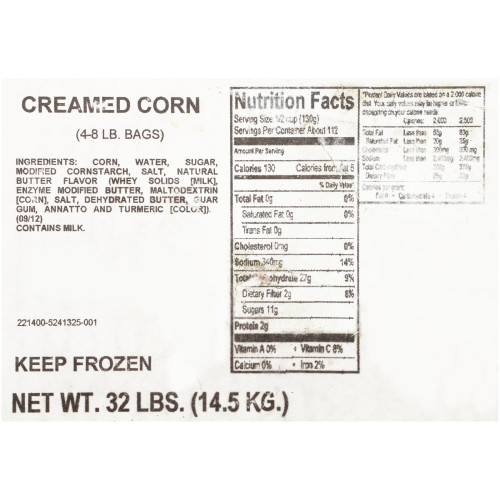 QUALITY CHEF Creamed Corn, 8 lb. Frozen Bag (Pack of 4)
